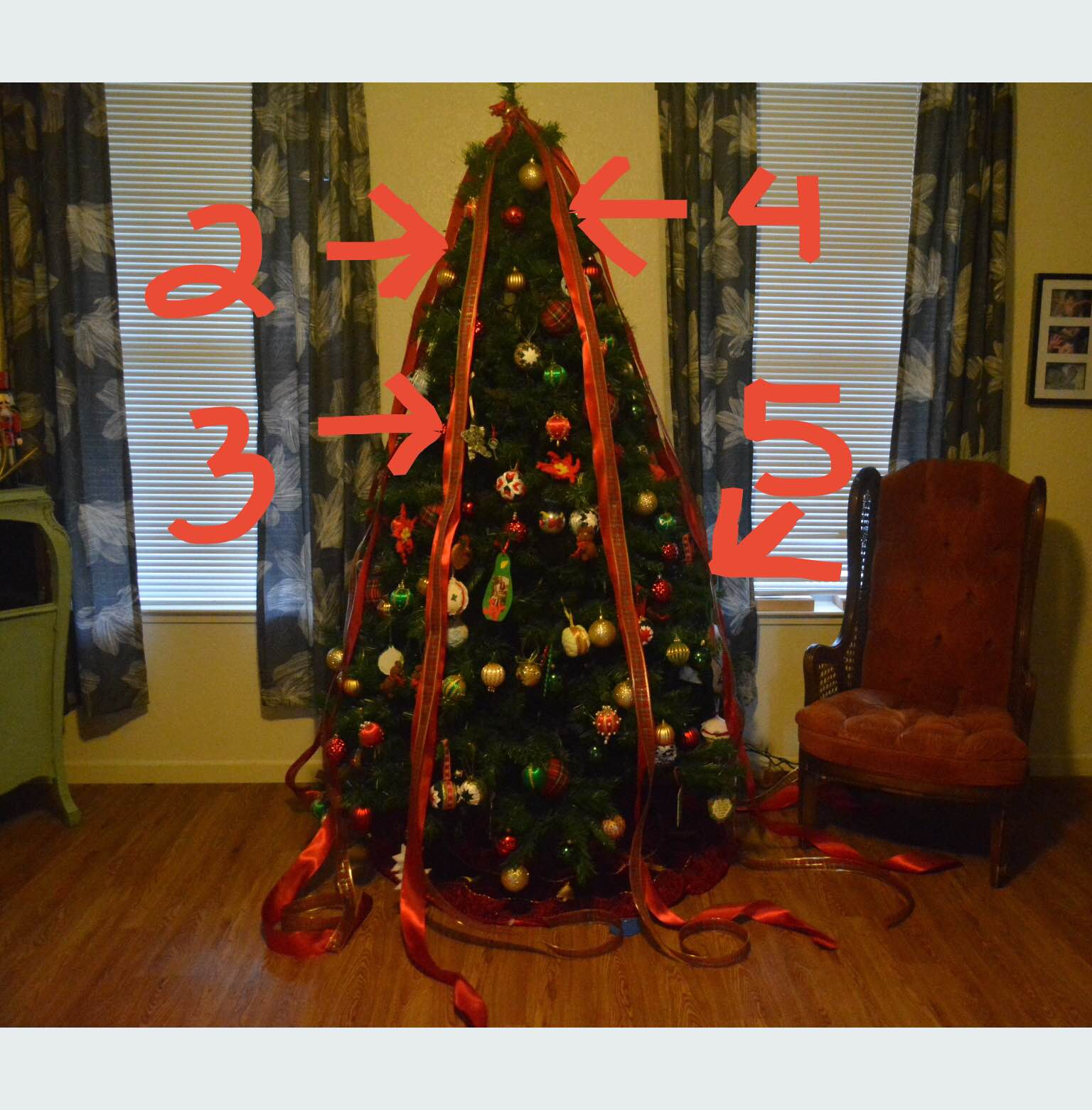 for the first criss cross use the wire to bind together ribbons 1 2 3 4 and 5 6 about 1 12 feet down from the top of the tree - Criss Cross Ribbon Christmas Tree